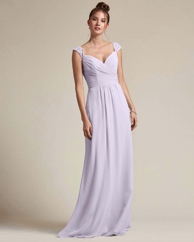 Lilac Sweetheart Embroidered Top With Cut Out Back Design Bridesmaid Gown