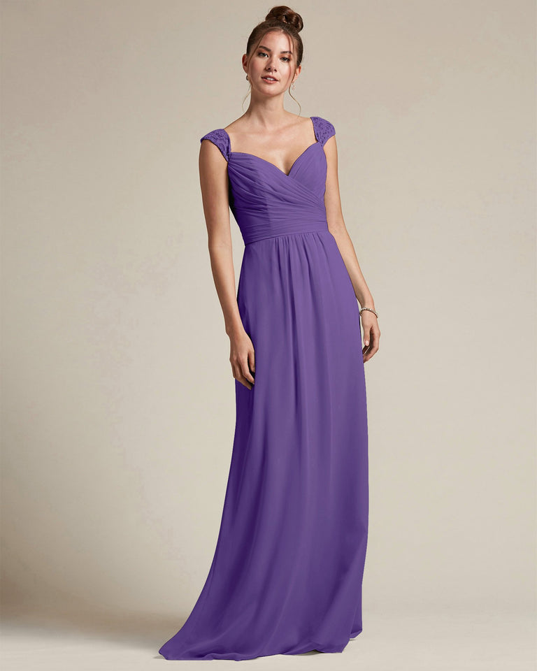 Regency Sweetheart Embroidered Top With Cut Out Back Design Bridesmaid Gown