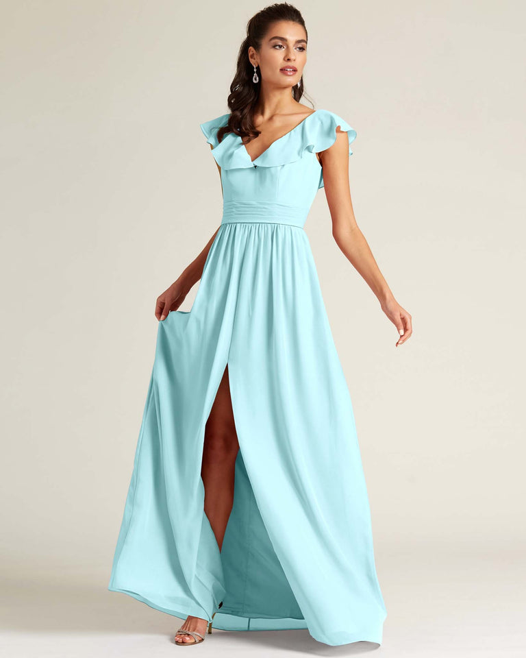 Blue Glow Flutter Top Long Skirt Dress