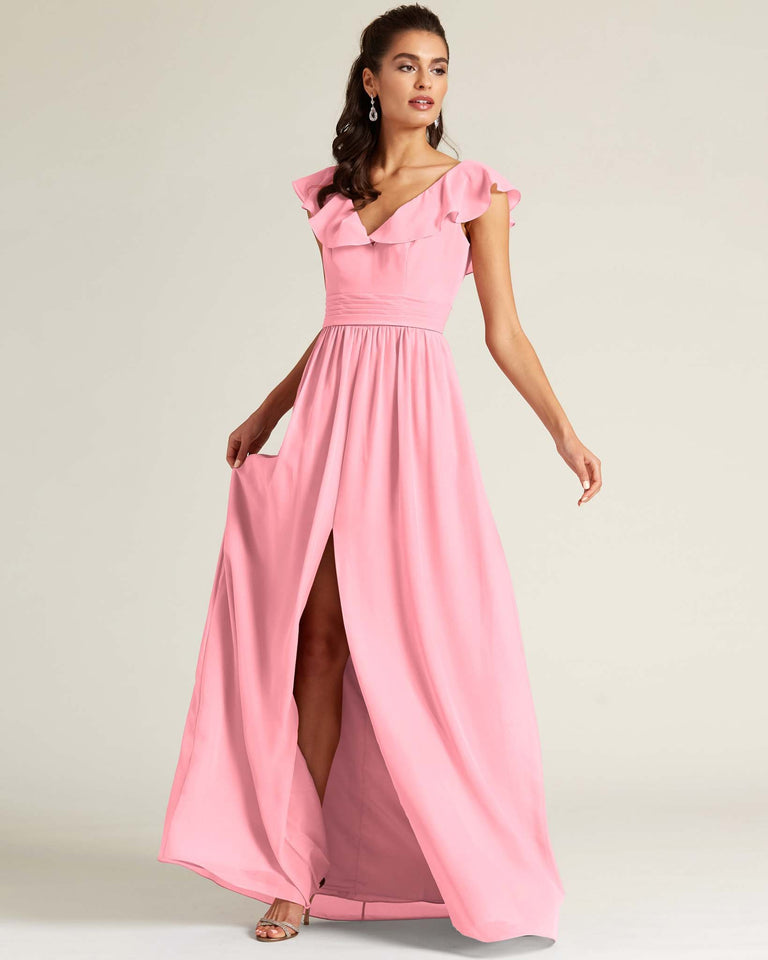 Candy Pink Flutter Top Long Skirt Dress