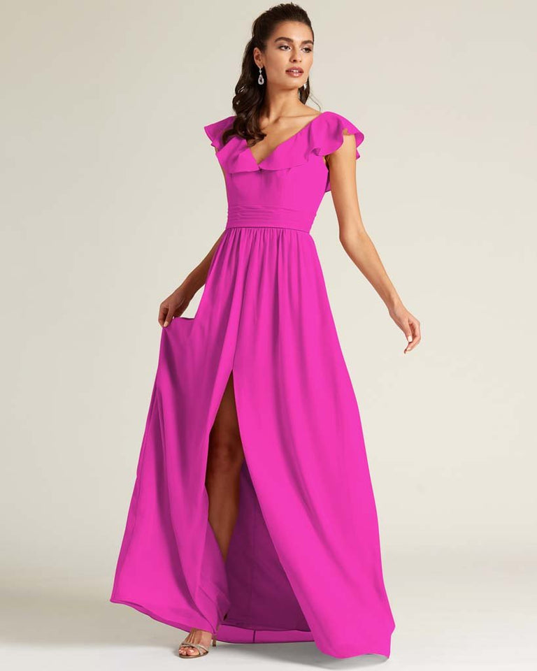 Fuchsia Flutter Top Long Skirt Dress