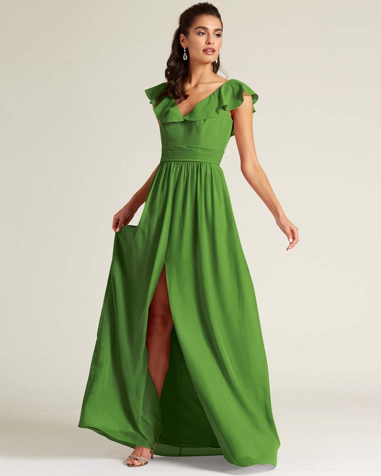 Moss Flutter Top Long Skirt Dress
