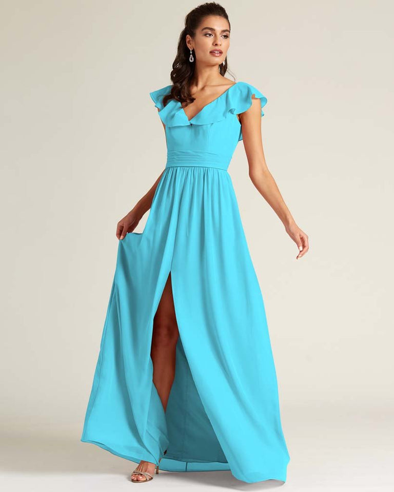 Pool Flutter Top Long Skirt Dress