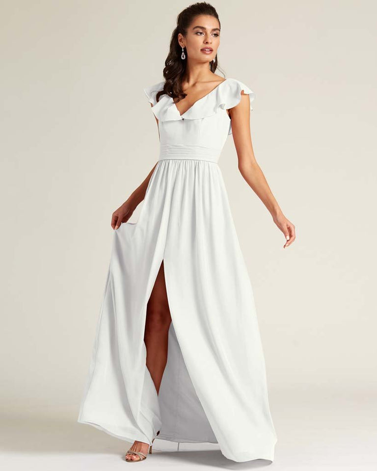 White Flutter Top Long Skirt Dress