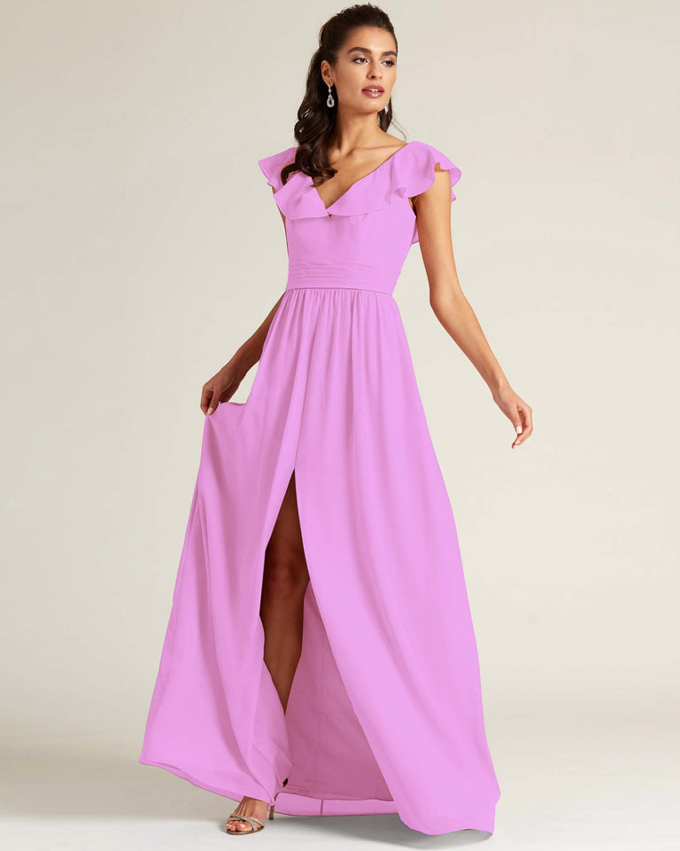 Purple Flutter Top Long Skirt Dress