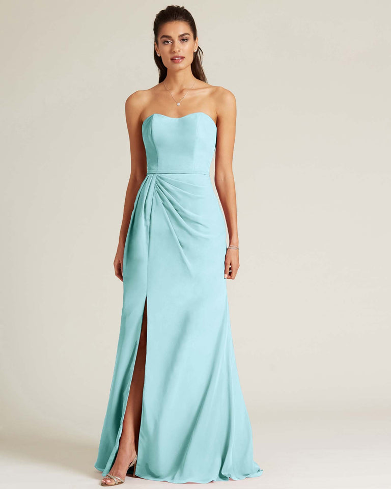Blue Glow Strapless Sweetheart Neckline Formal Gown