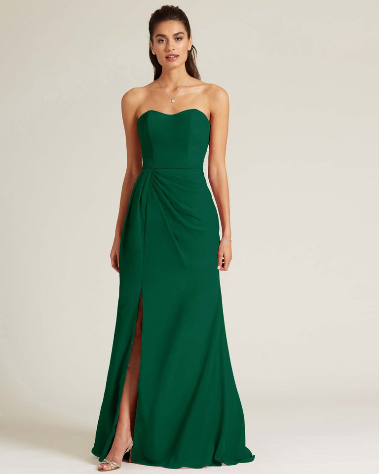 Dark Green Strapless Sweetheart Neckline Formal Gown