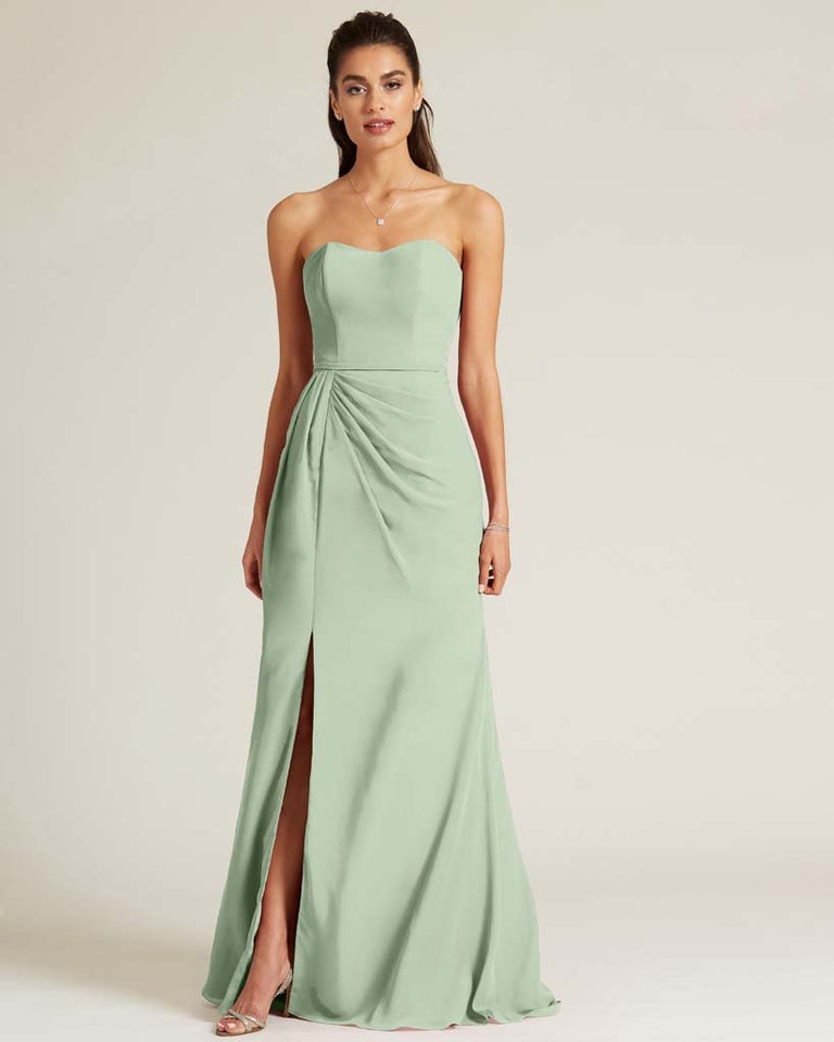 Celadon Strapless Sweetheart Neckline Formal Gown