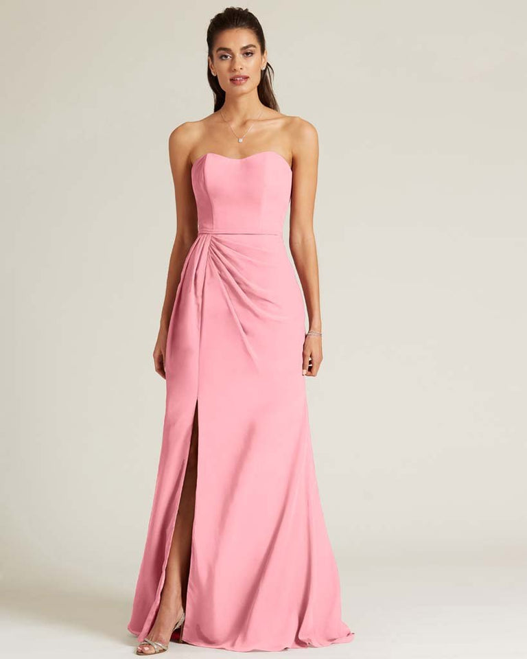Flamingo Pink Strapless Sweetheart Neckline Formal Gown