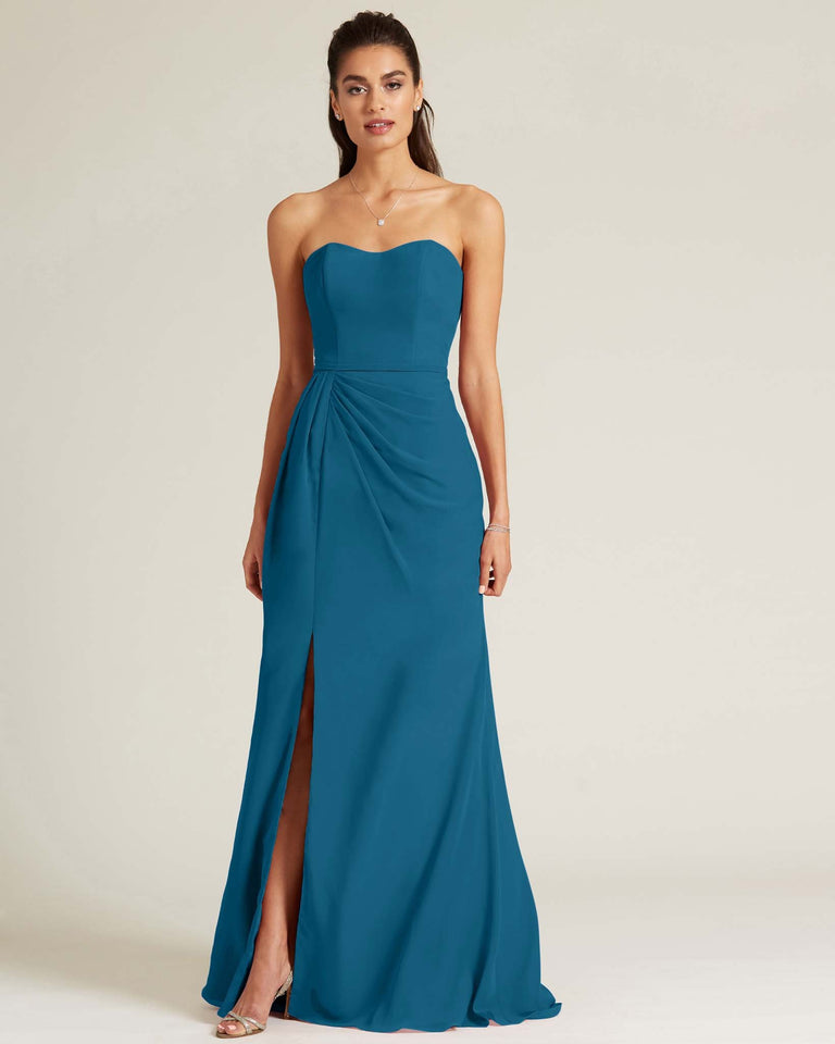 Ink Blue Strapless Sweetheart Neckline Formal Gown
