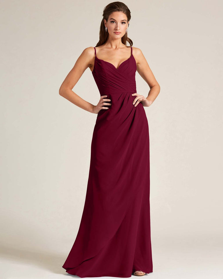 Burgundy Sleeveless V Neck Style Long Dress