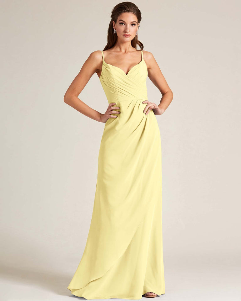 Daffodil Sleeveless V Neck Style Long Dress