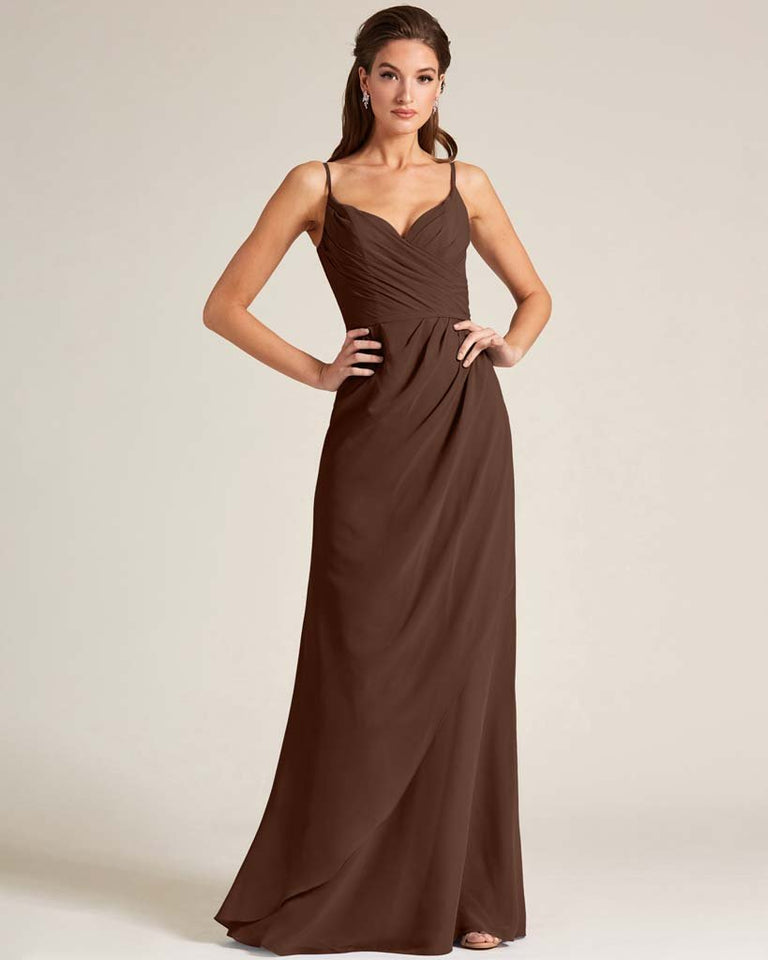 Chocolate Sleeveless V Neck Style Long Dress