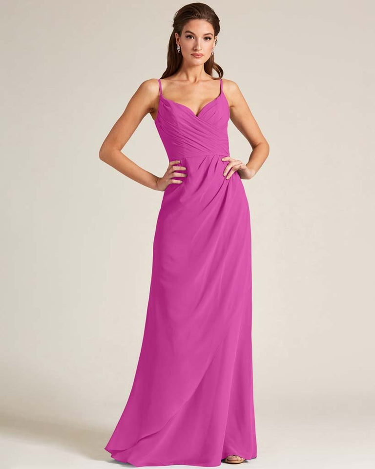 Fuchsia Sleeveless V Neck Style Long Dress