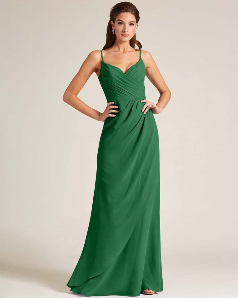 Jolly Green Sleeveless V Neck Style Long Dress