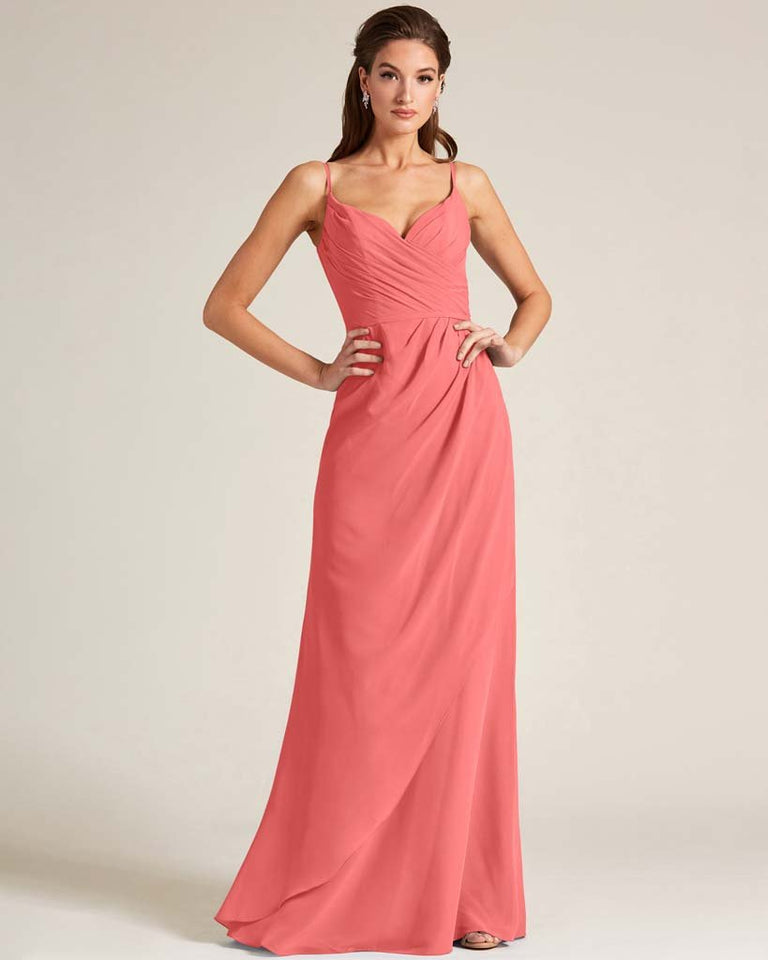 Watermelon Sleeveless V Neck Style Long Dress