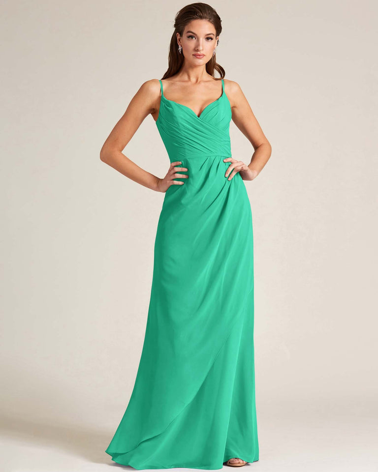 Turquoise Sleeveless V Neck Style Long Dress