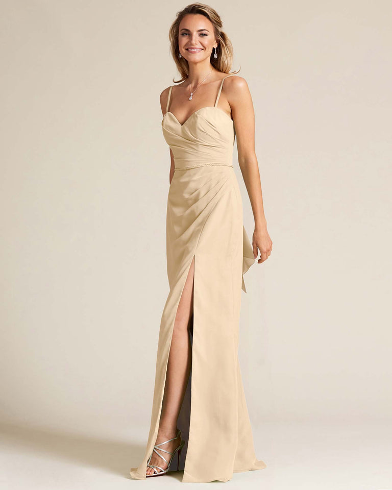 Champagne Sleeveless Sweetheart Neckline Evening Dress
