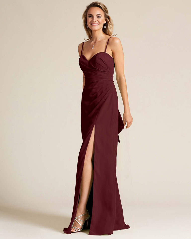 Claret Sleeveless Sweetheart Neckline Evening Dress