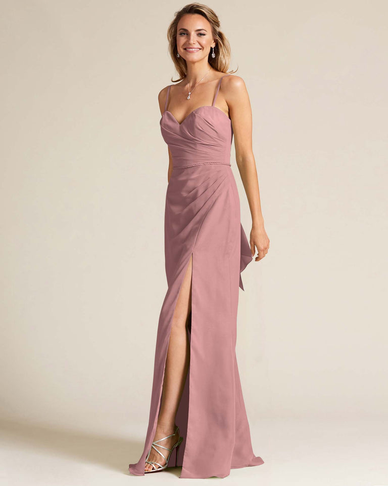 Dusty Rose Sleeveless Sweetheart Neckline Evening Dress