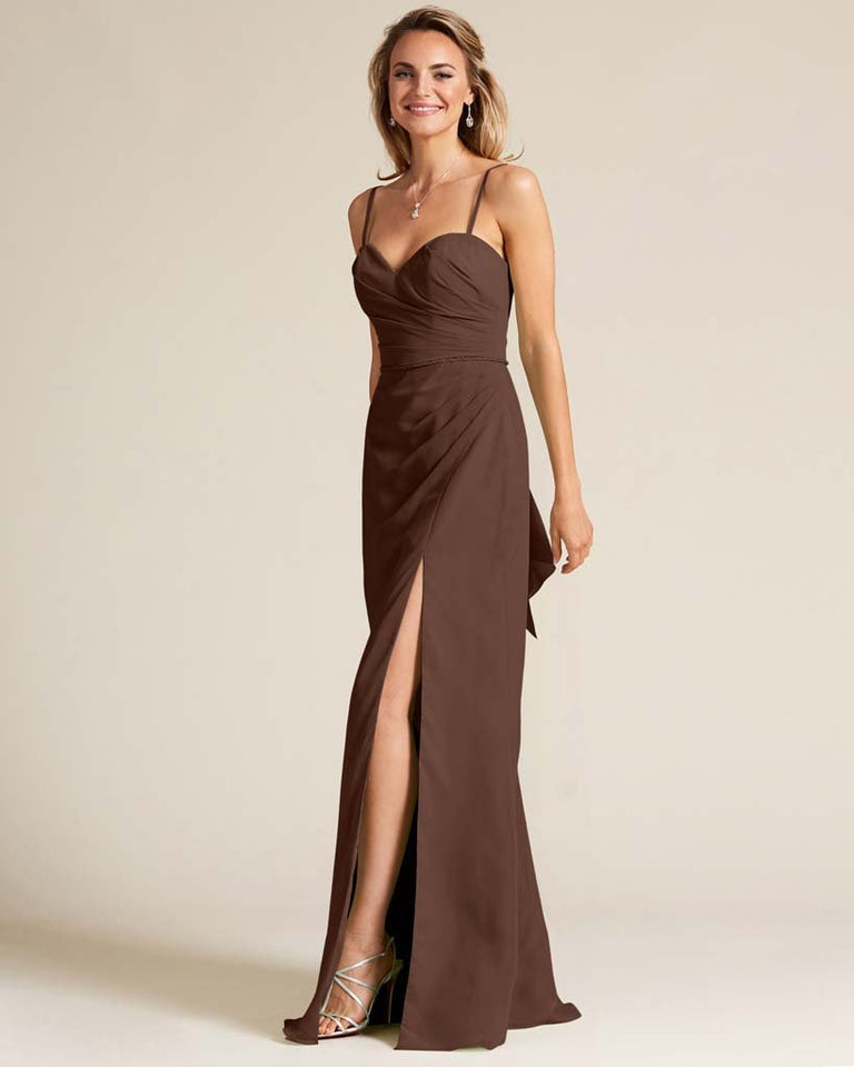 Chocolate Sleeveless Sweetheart Neckline Evening Dress