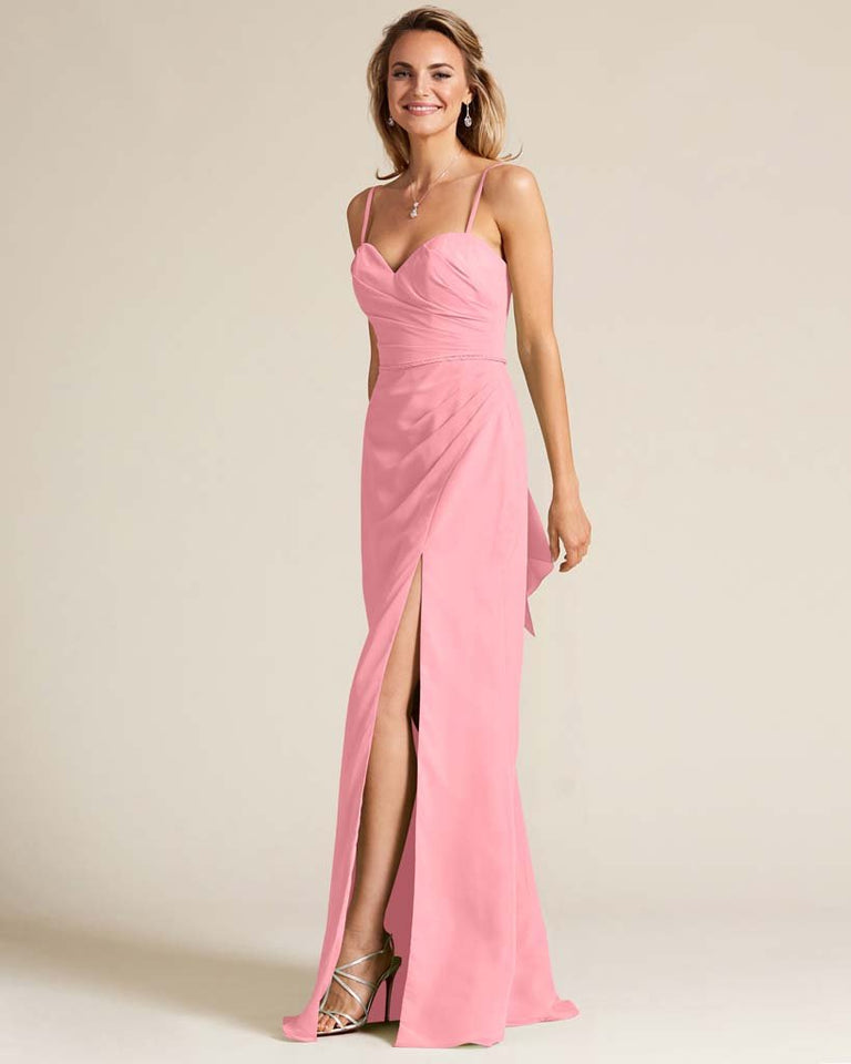 Flamingo Pink Sleeveless Sweetheart Neckline Evening Dress