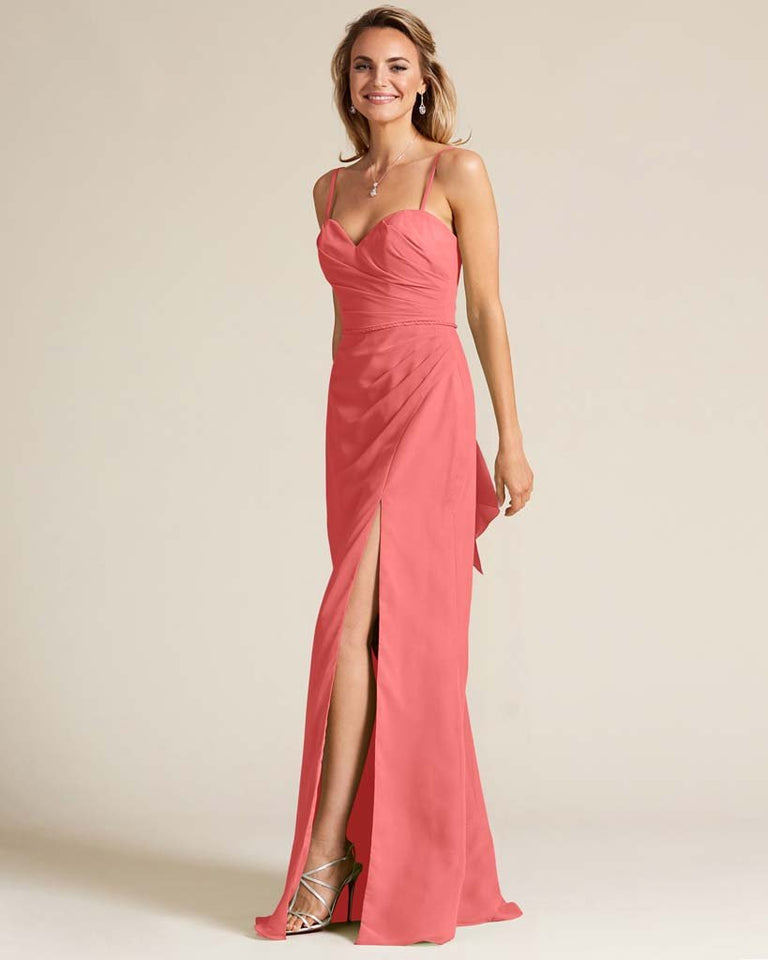 Watermelon Sleeveless Sweetheart Neckline Evening Dress
