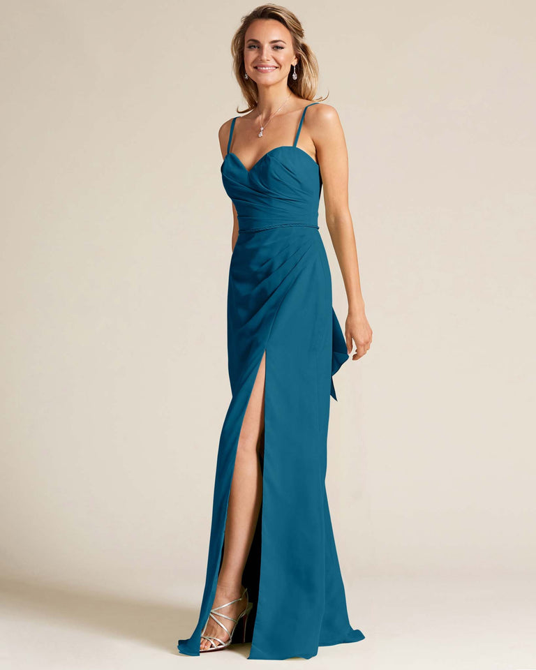 Ink Blue Sleeveless Sweetheart Neckline Evening Dress