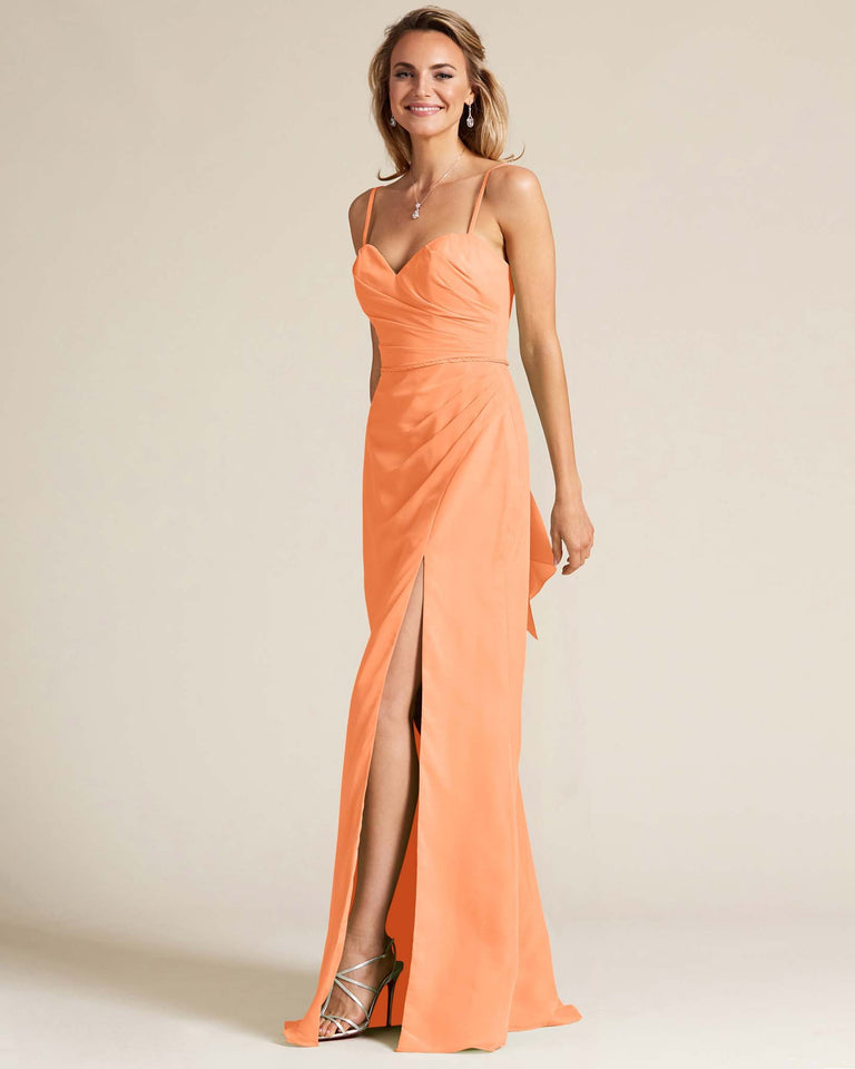 Papaya Sleeveless Sweetheart Neckline Evening Dress