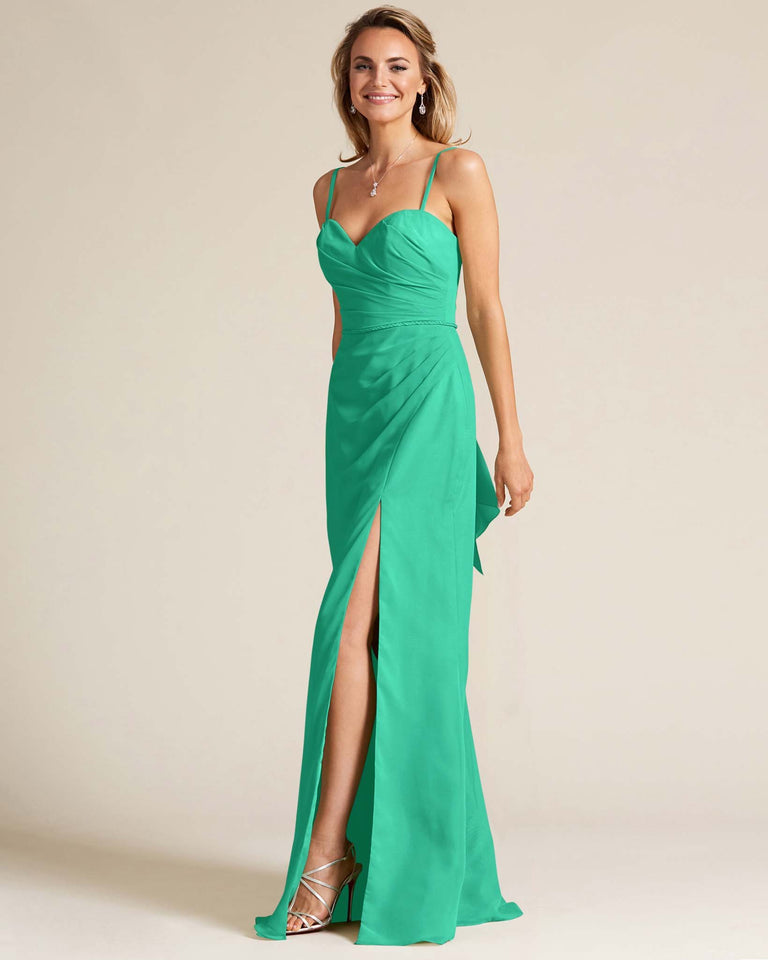 Turquoise Sleeveless Sweetheart Neckline Evening Dress