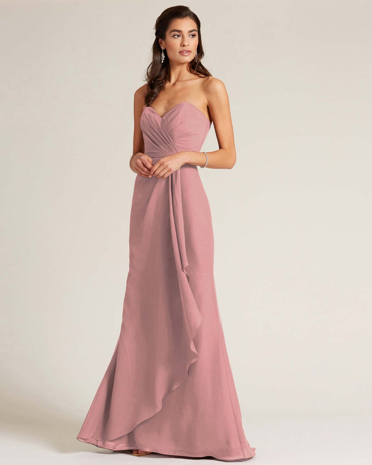 Dusty Rose Strapless Bow Detail Long Skirt Dress