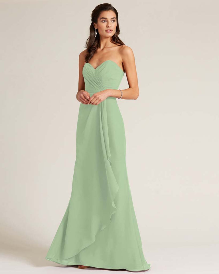 Celadon Strapless Bow Detail Long Skirt Dress