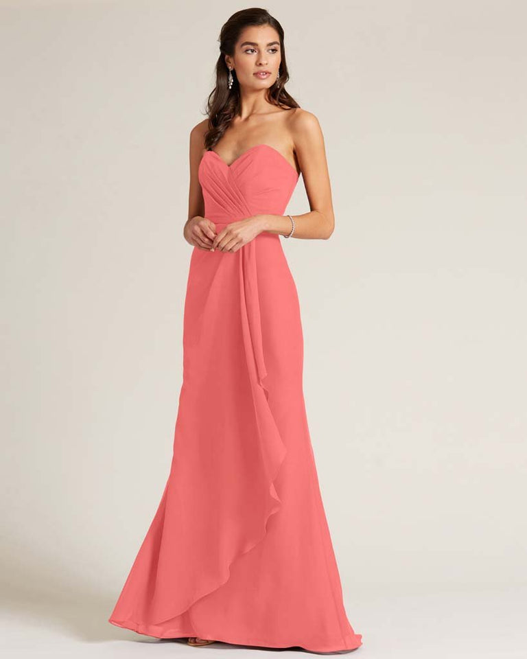 Watermelon Strapless Bow Detail Long Skirt Dress