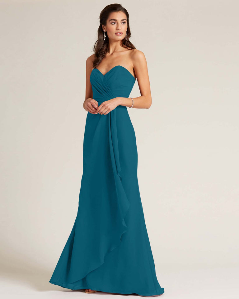 Ink Blue Strapless Bow Detail Long Skirt Dress