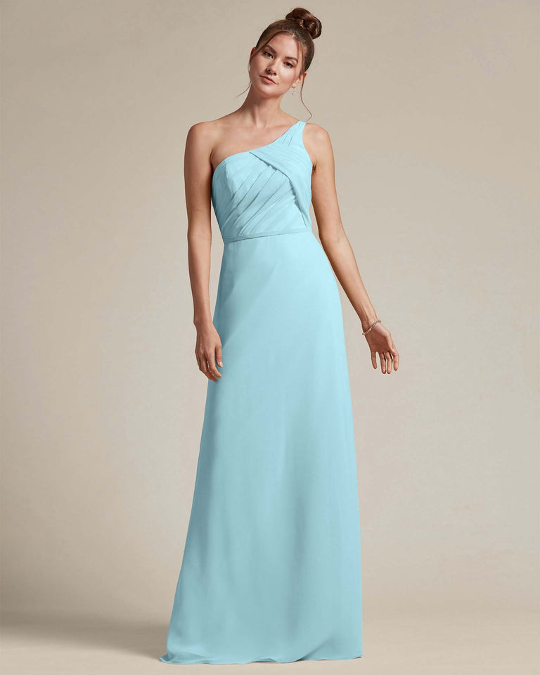 Blue Glow Asymmetrical Ruched Design Top Long Skirt Bridesmaid Dress