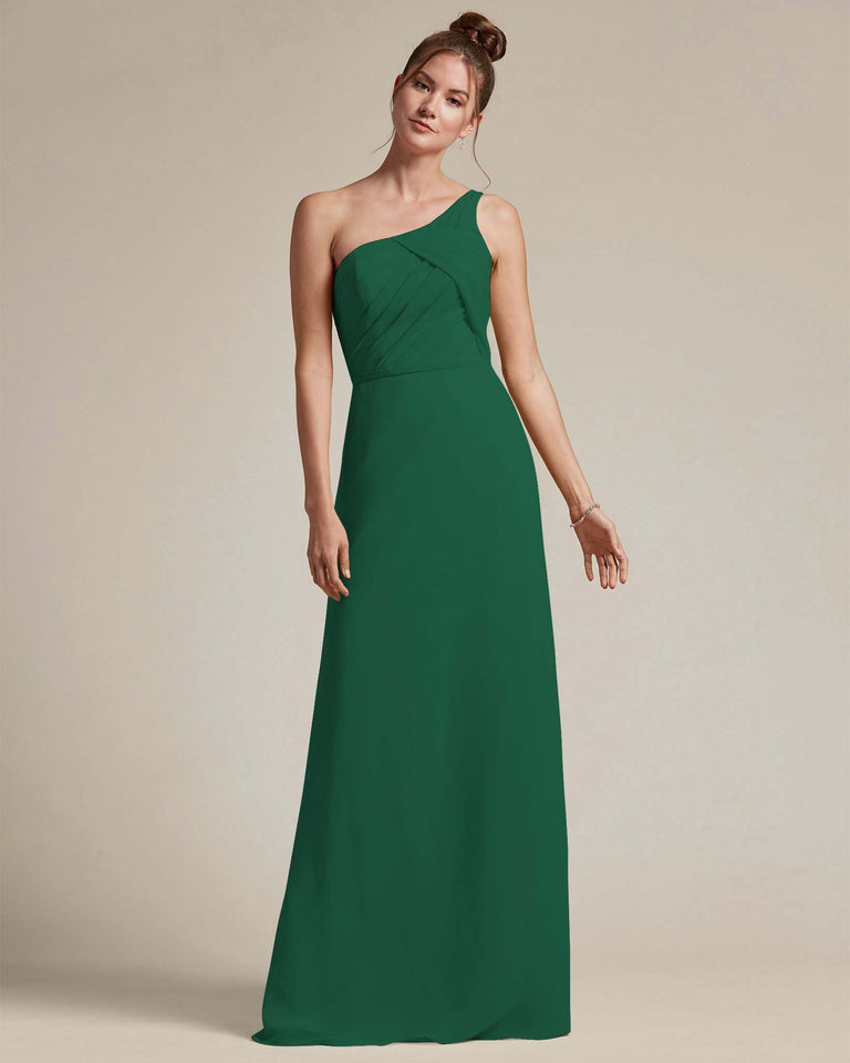 Dark Green Asymmetrical Ruched Design Top Long Skirt Bridesmaid Dress