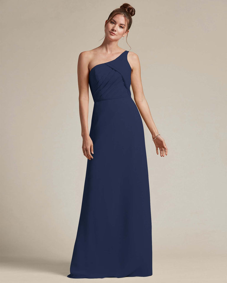 Dark Navy Asymmetrical Ruched Design Top Long Skirt Bridesmaid Dress