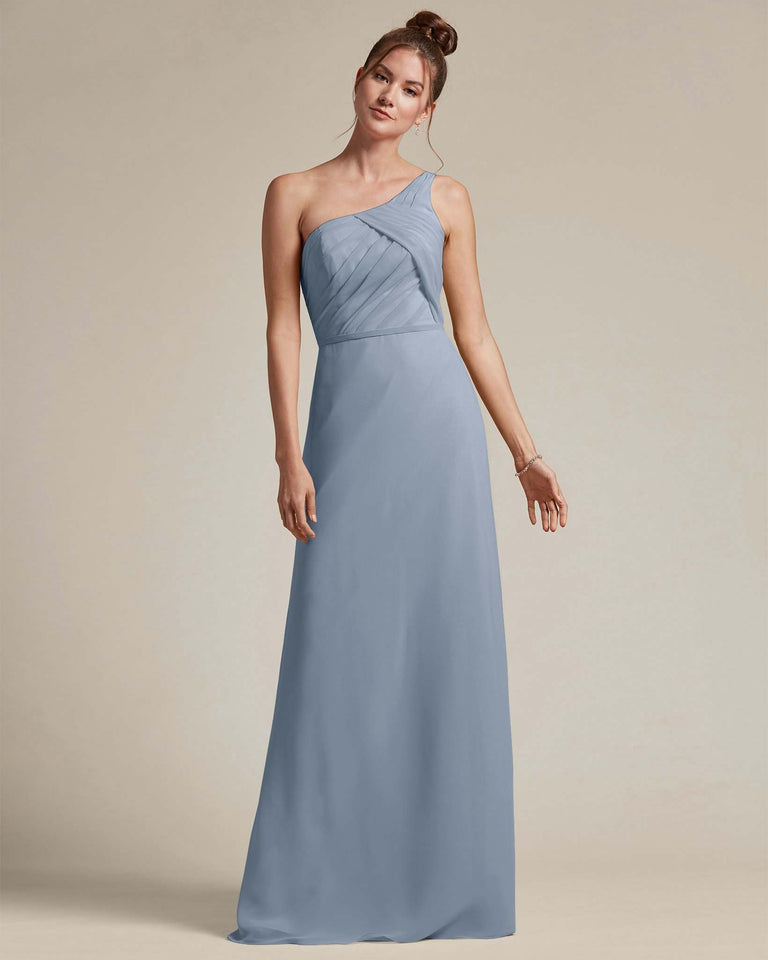 Dusty Blue Asymmetrical Ruched Design Top Long Skirt Bridesmaid Dress
