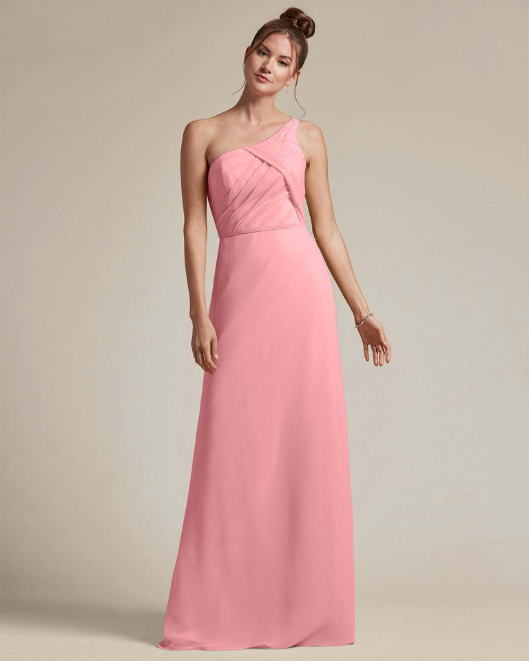 Flamingo Pink Asymmetrical Ruched Design Top Long Skirt Bridesmaid Dress