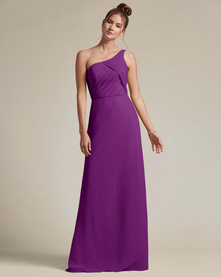 Passion Asymmetrical Ruched Design Top Long Skirt Bridesmaid Dress