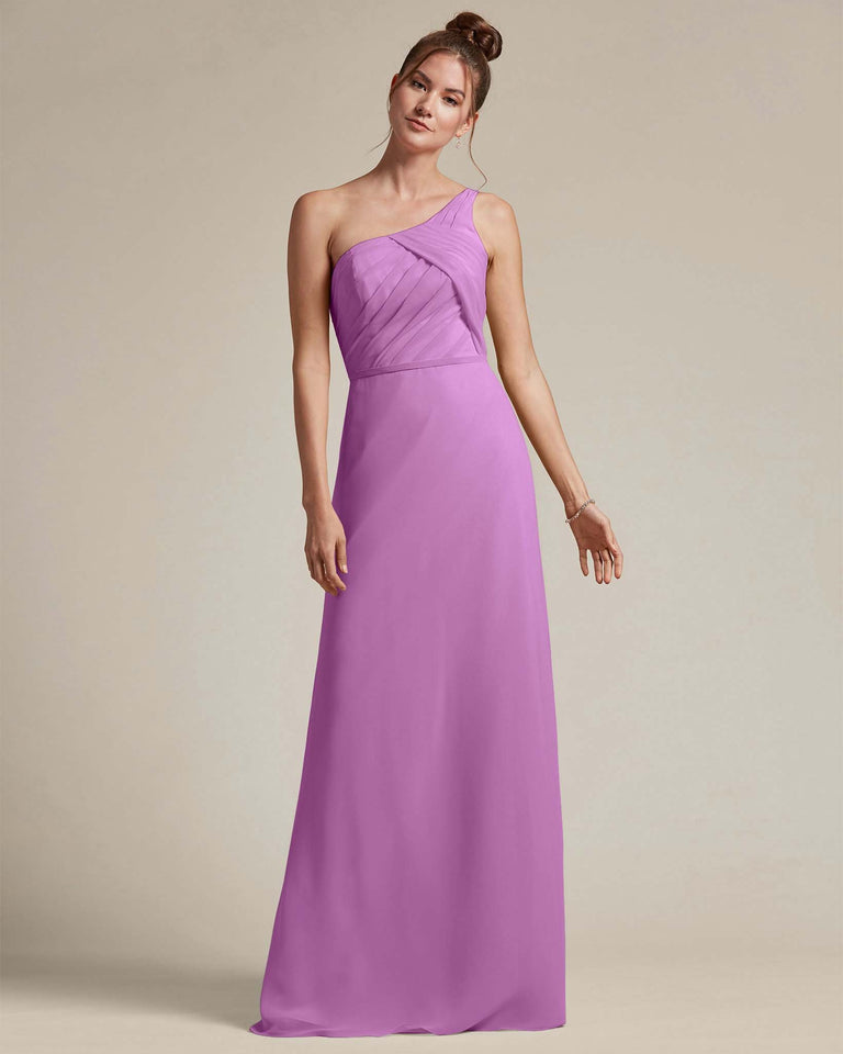 Purple Asymmetrical Ruched Design Top Long Skirt Bridesmaid Dress