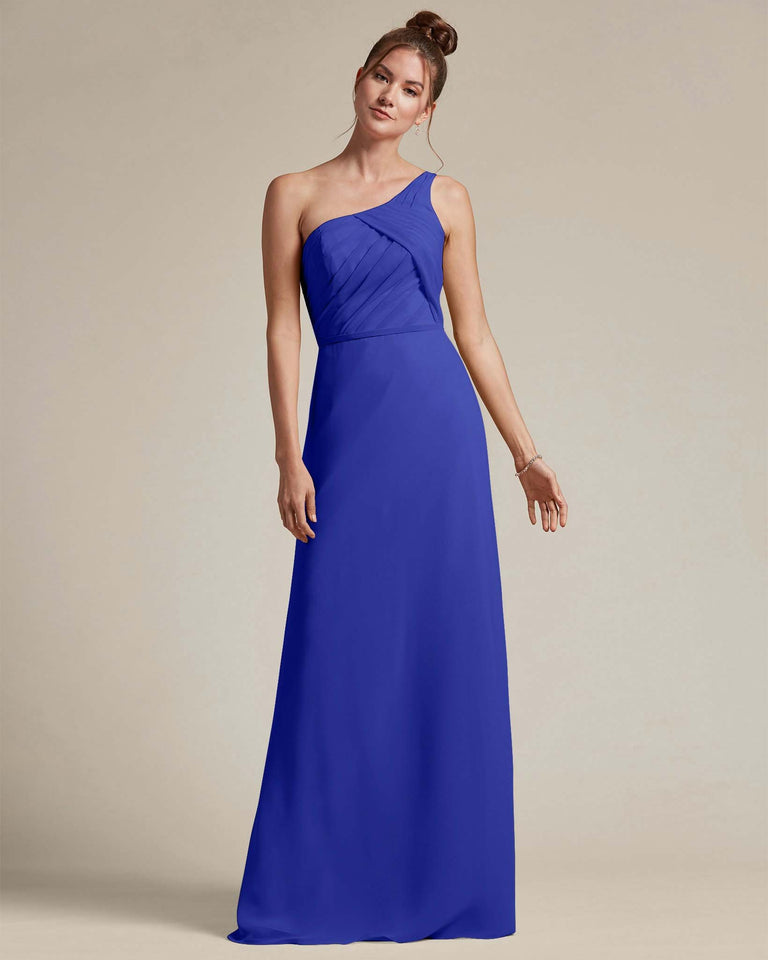 Royal Blue Asymmetrical Ruched Design Top Long Skirt Bridesmaid Dress