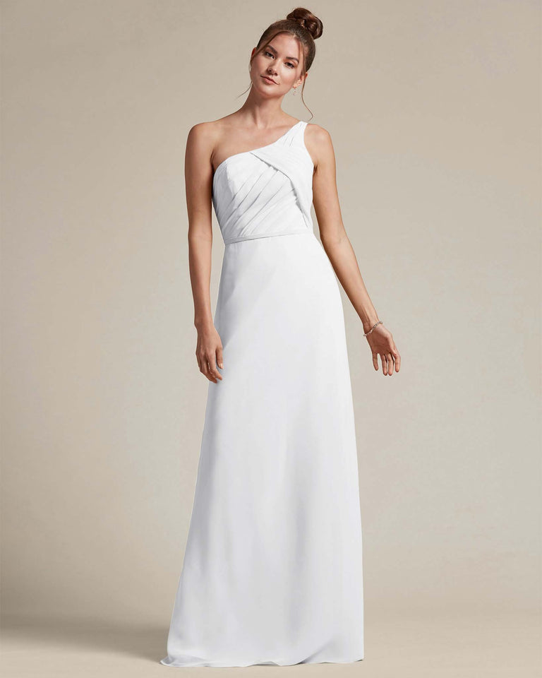 White Asymmetrical Ruched Design Top Long Skirt Bridesmaid Dress