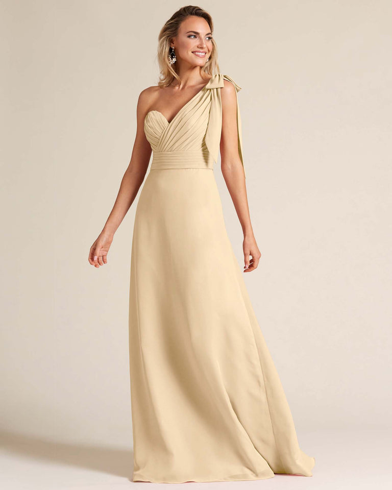 Champagne One Shoulder Ruched Formal Gown
