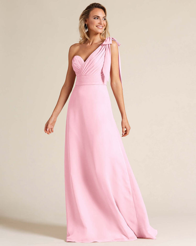 Cherry Blossom One Shoulder Ruched Formal Gown