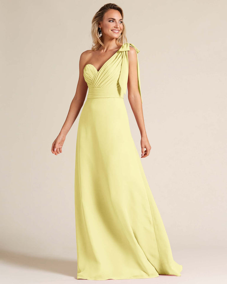Daffodil One Shoulder Ruched Formal Gown