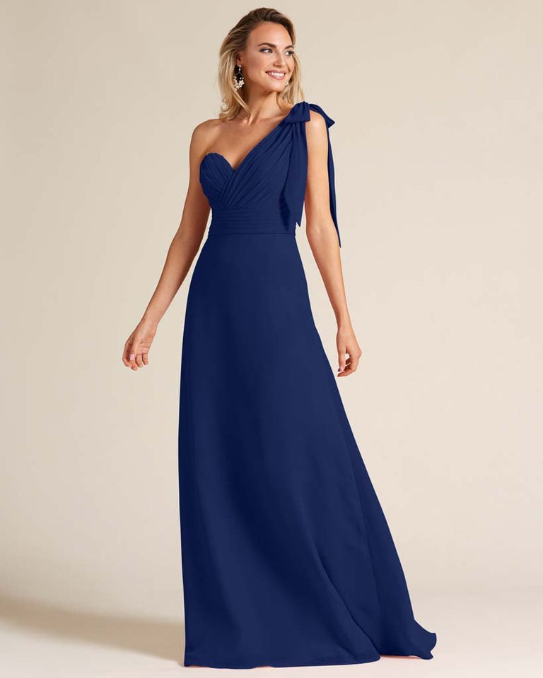 Dark Navy One Shoulder Ruched Formal Gown