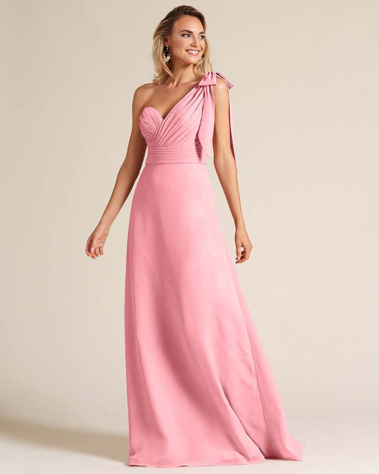 Flamingo Pink One Shoulder Ruched Formal Gown