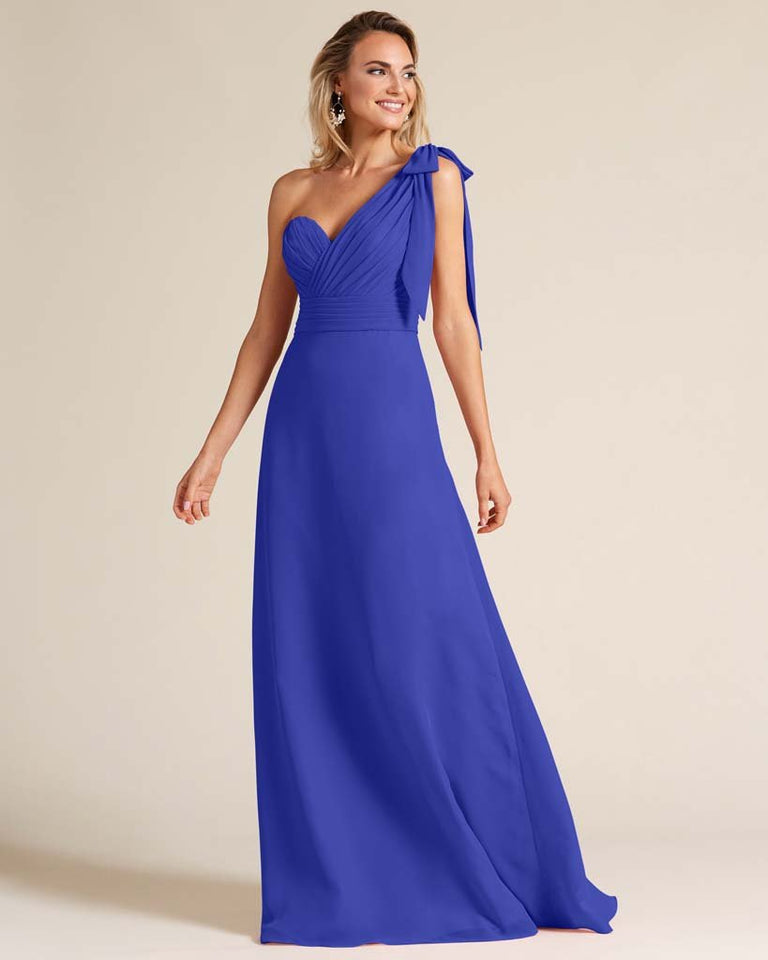 Royal Blue One Shoulder Ruched Formal Gown