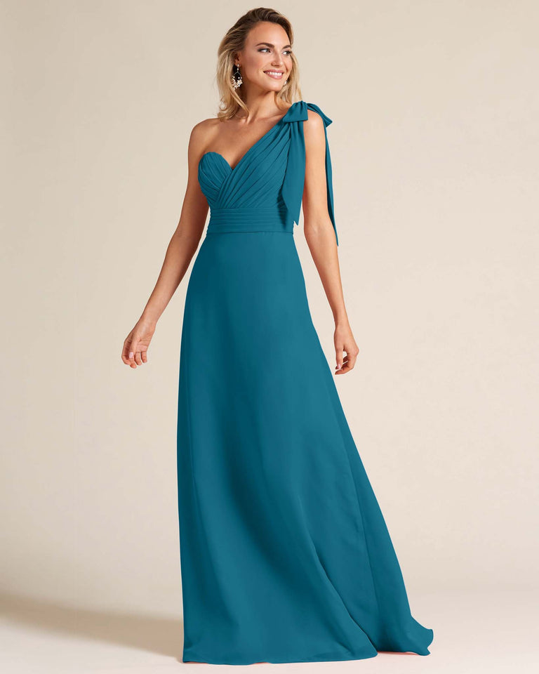 Ink Blue One Shoulder Ruched Formal Gown